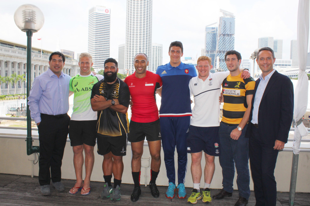 A group photo of the SCC 7s Team Captains. (From extreme left to right) Jonathan Leow, Chairman of the SCC International Rugby 7s Organising Committee, Kyle Brown, Captain of SA Sevens Academy, Will Hafu, Captain of Penguins, Daniel Marc Chow, Captain of Singapore National Team, Pierre Reynaud, Captain of France Development Team, John Brake, Captain of England Development Team, Ben Turner, Captain of SCC Team, and Arnaud Lhoste, Head of Global Markets Sales, Societe Generale, Southeast Asia. (Photo Credit: Singapore Cricket Club)