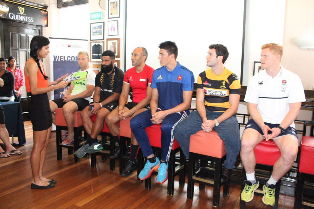 National Sprinter and Hurdler Dipna Lim-Prasad (extreme left), interacting with the team captains of the various teams during the official press conference. (Photo Credit: Singapore Cricket Club)