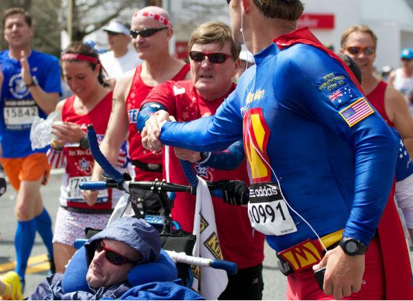Marathon man! I've heard a lot about you. (Boston Marathon, April 2014) - Image credit - Jim Merullo