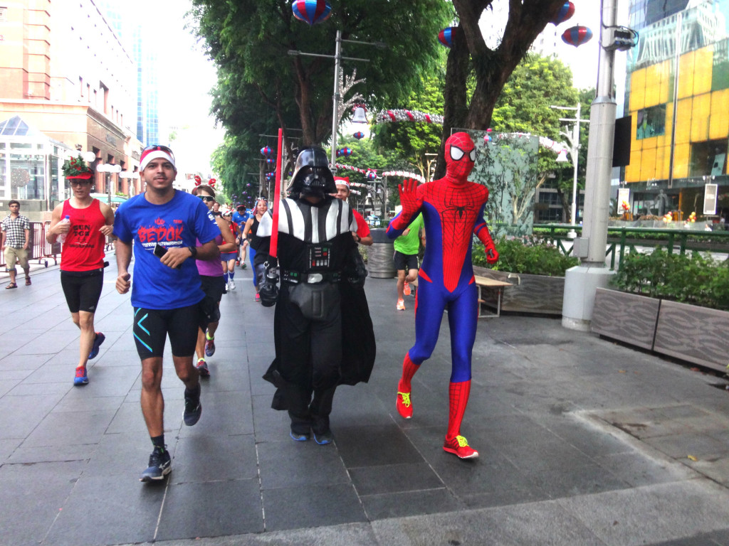 Darth Vader and Spider-Man spread Christmas cheer along Orchard Road.