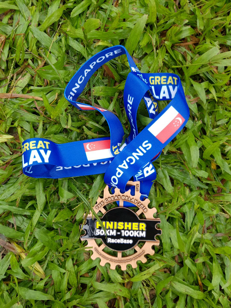 The Great Relay finisher's medal.