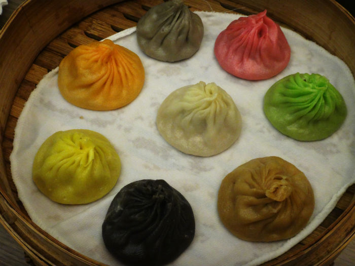 The colourful xiao long baos from Paradise Dynasty.