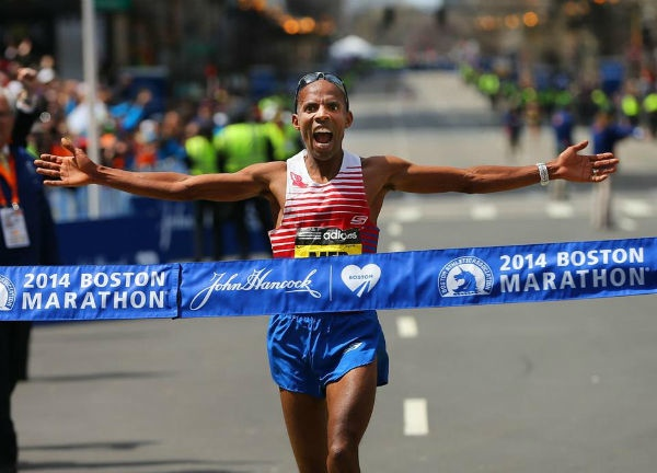 American runner Meb Keflezighi wins the Boston Marathon 2014 - one year after the fatal bombings.