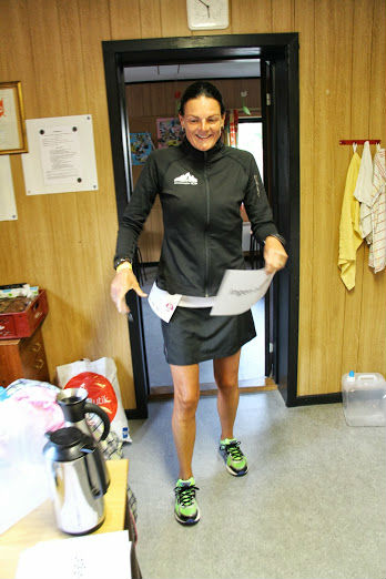 Annette gets ready for her marathon.