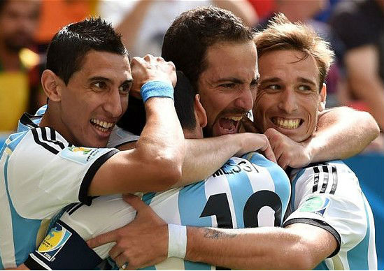 Scenes of delight from Argentina players. (Image: telegraph.co.uk)