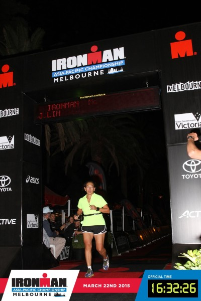Dr Lin crosses the finishing line. Credit: Ironman Melbourne.