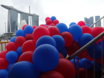 It was a lovely race experience - until the rain threatened to spoil the carnival... and tossed these balloons aside.