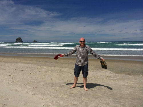 Peter is enjoying the white, sandy beach. (courtesy of Peter Anderson)