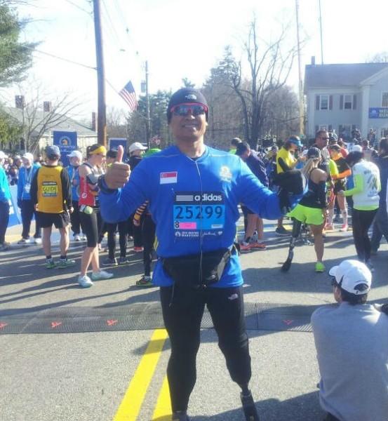 Singapore Blade Runner at the starting line of the Boston Marathon.