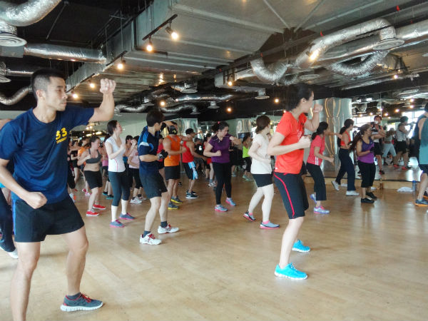 Eager participants taking part in the Bodycombat class.