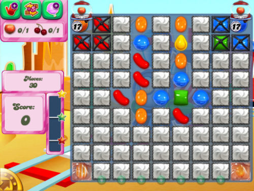 Level 445 in Candy Crush Saga.