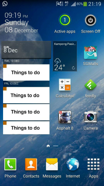 Close-up home screen of Justin Lee's Galaxy Note 3. (Picture courtesy of Justin Lee).