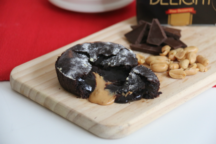 The peanut butter adds a local touch to the traditional chocolate lava cake dessert.