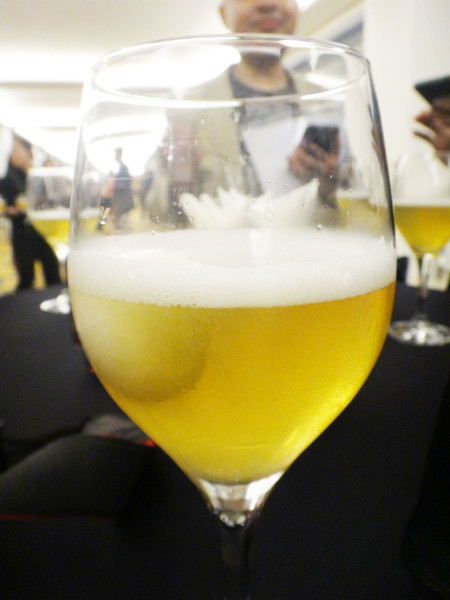 Beer with a scoop of lemon sorbet inside.