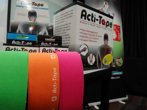 Colourful Acti-Tapes on display.