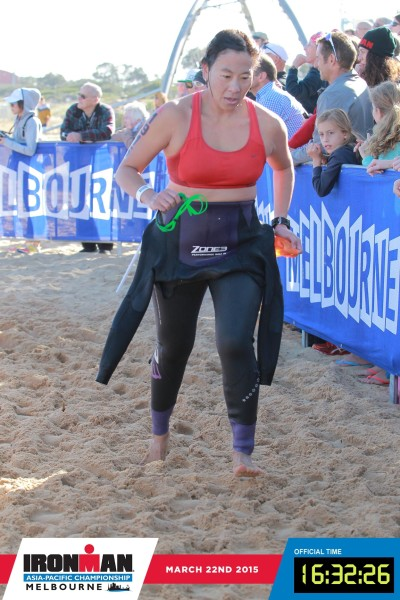 Done with the 3.8km swim, now it's a gruelling 180km bike ride to go. Credit: Ironman Melbourne.