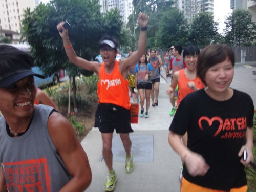 Running the final 1km together with Ah Siao.