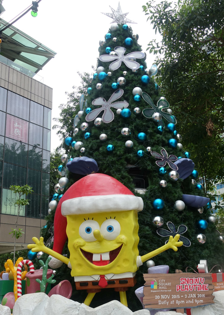 Enjoy the snow with Spongebob and the Christmas tree.