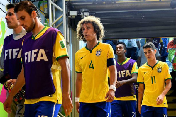 The Selecao are in a daze, unable to believe what just happened. (Image: mirror.co.uk)