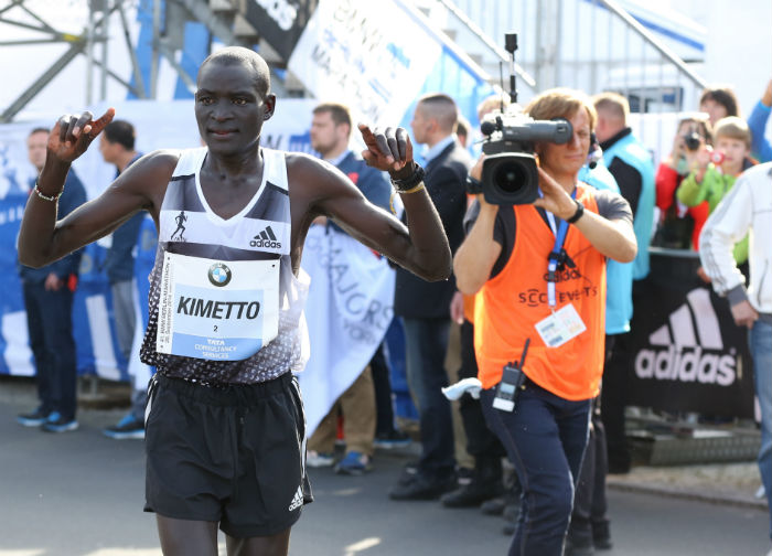 Dennis Kimetto savours his win - a victory for both himself and adidas.