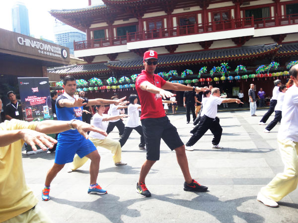 Ferdinand and Aguero are doing Tai Chi.