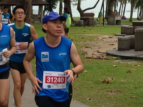 A runner attempts to maintain a steady pace.