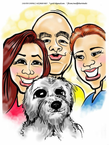 A drawing of a family portrait with their dog, by Calven Chong.