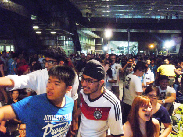 Fans gather at the Singapore Sports Hub.