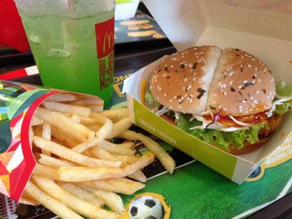 McDonalds' yummy Brazilian inspired burger and carbonated drink.