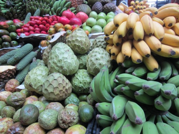 Fresh fruit available in Madeira, in Portugal - one of the ports.