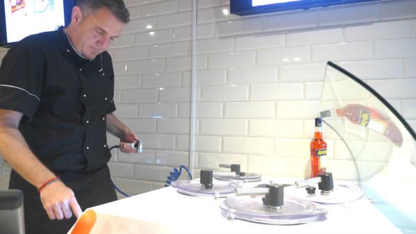 Quaglia working with the IdeaTre machines.