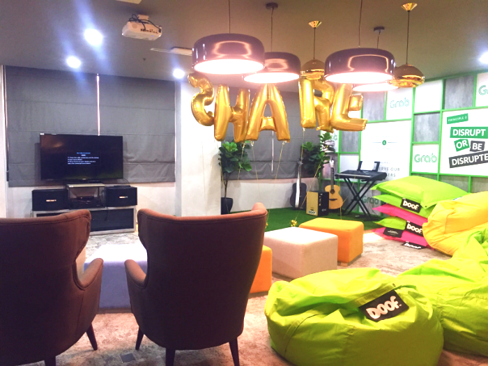 These seats at the Grab office were quite comfortable.
