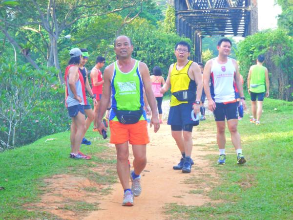 Runners congregating.