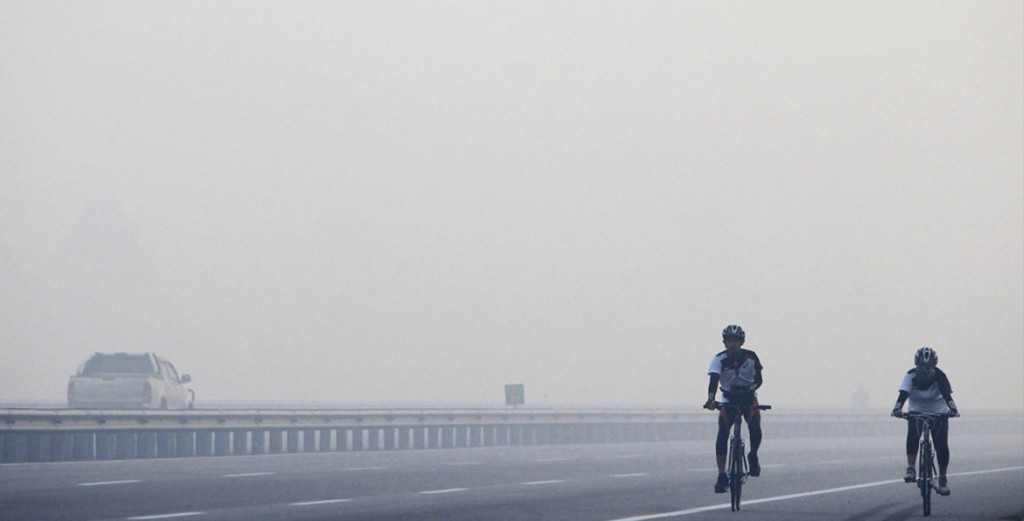 It's dangerous to exercise in hazy conditions. Photo by: blog.kfit.com