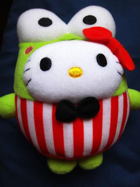 Hello Kitty as kerokerokeroppi the frog.