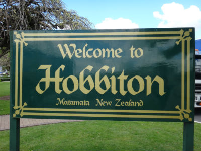 The Hobbiton sign at Matamata.