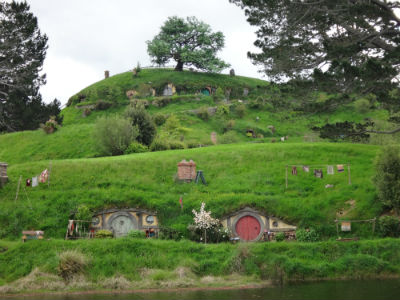 Hobbit houses on the hill.