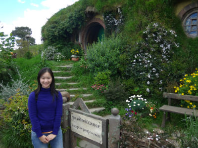 Posing in front of Bag End, The Shire.