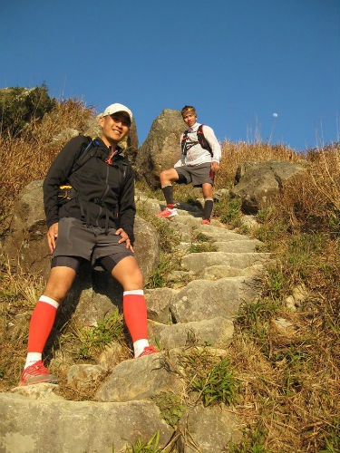 Training on the challenging and mountainous trails.