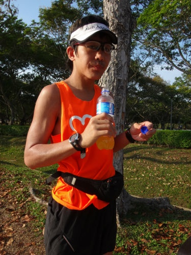 Hydration is very important to Ah Siao when he runs.