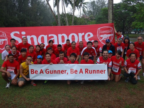 Gooners pull themselves out of bed to take part in a charity run this morning.