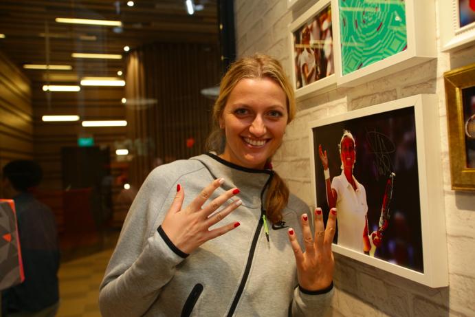 Kvitova shows off her newly painted nails. (Image: Nike Singapore).
