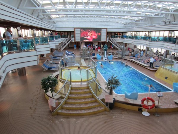 The swimming pool on board the luxurious cruise liner.