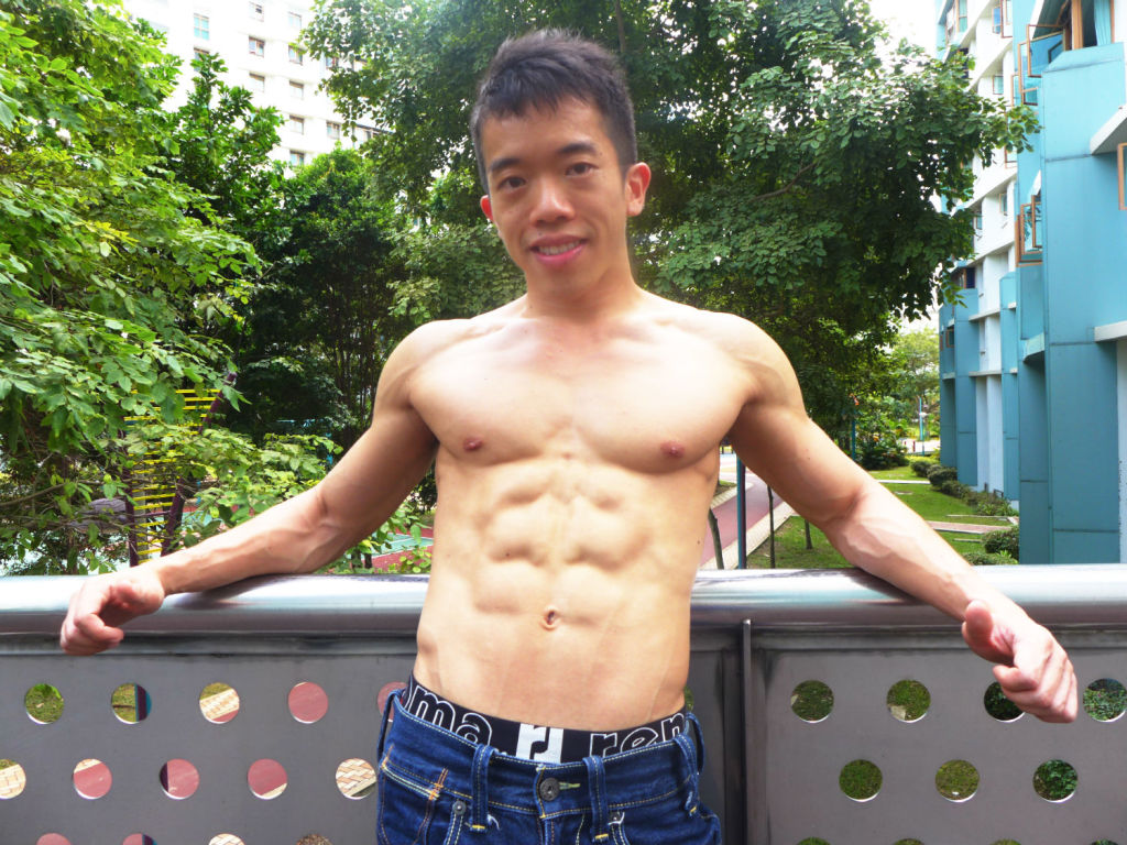 Ivan Low shows off his six-pack body.