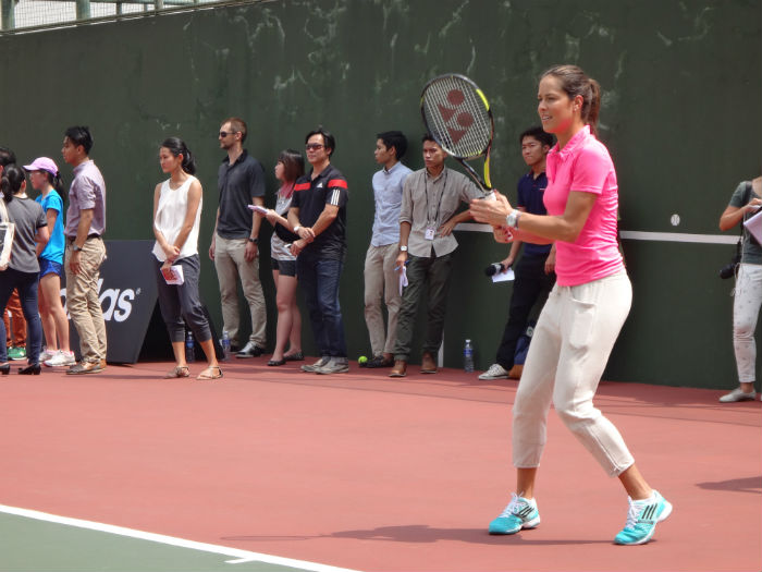 Ivanovic challenges the students to a game of tennis.