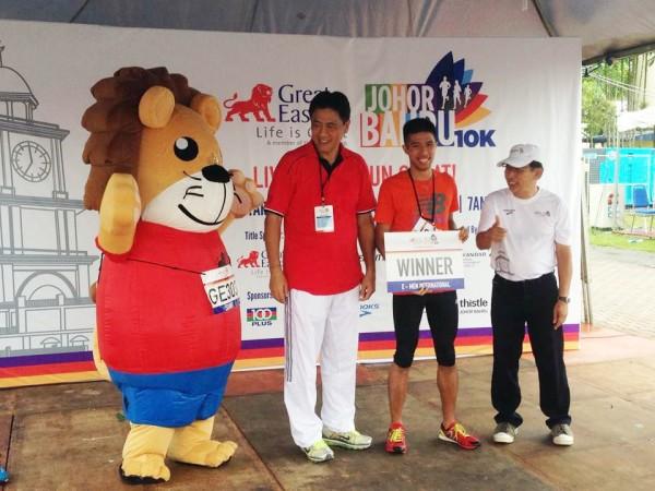 Winner of Great Eastern Johor Run 2013.