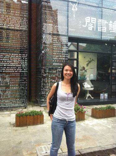 Chew Jia Zhen outside a popular Chinese bookshop  in Thames Town Shanghai. (Picture courtesy of Jia Zhen).