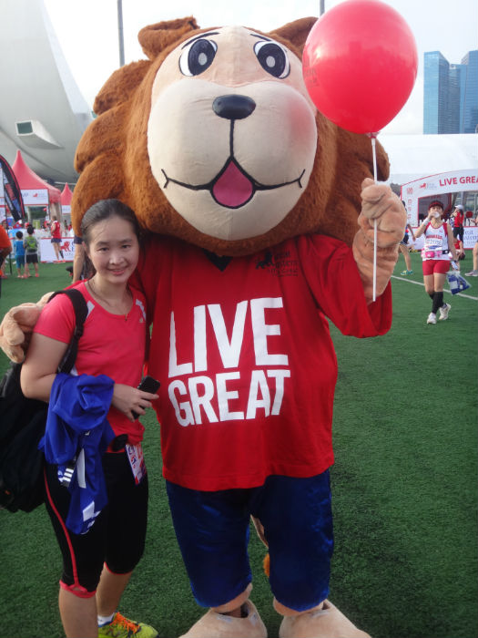 With the cute Great Eastern Live Great mascot!