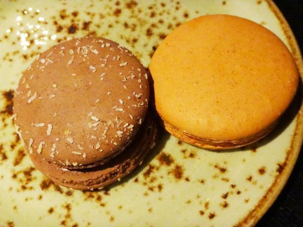 Lamington macaron (left) and salted caramel macaron (right).