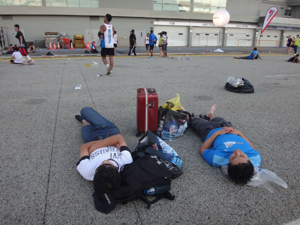 Running a marathon is exhausting.